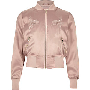 Girls pink satin embroidered bomber jacket