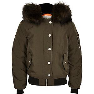 Girls khaki hooded bomber jacket