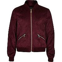 Girls dark red faux suede bomber jacket