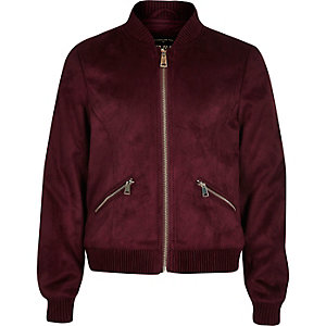 Girls dark red faux suede bomber jacket