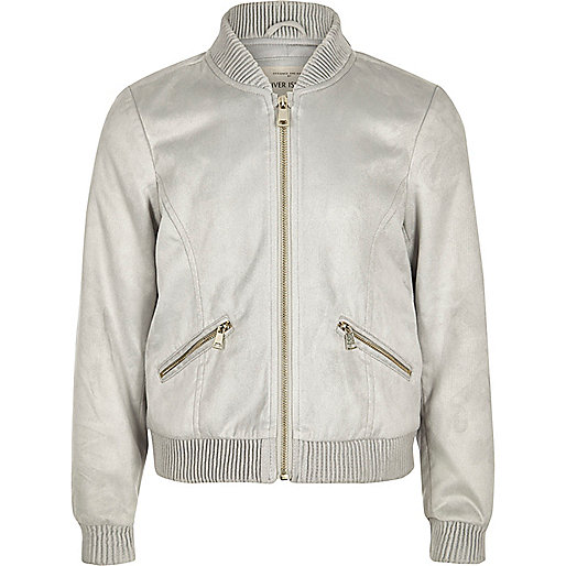 Girls grey faux suede bomber jacket