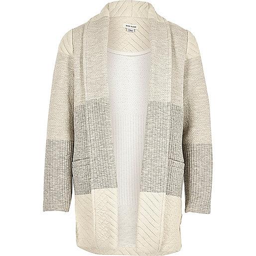 Girls grey knit colour block jersey blazer