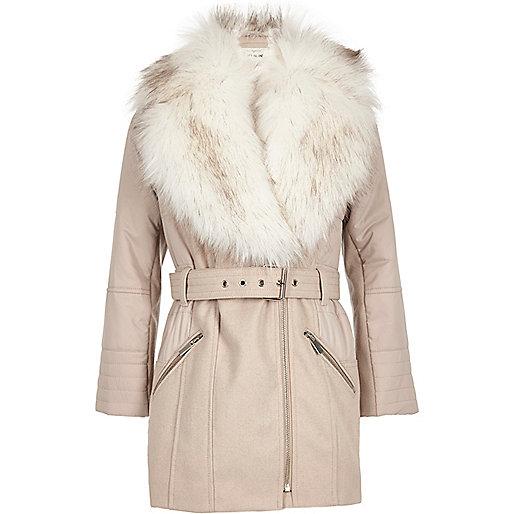 Girls light pink faux fur padded jacket