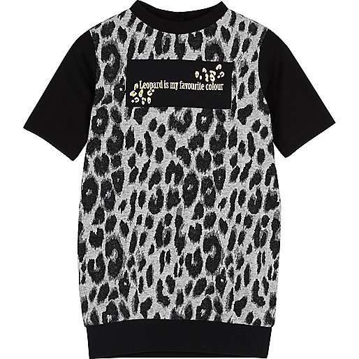 Mini girls leopard print T-shirt dress