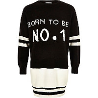 Girls black knit 'No1' jumper dress