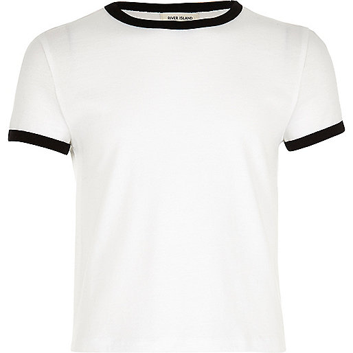 Girls white contrast tipped t-shirt