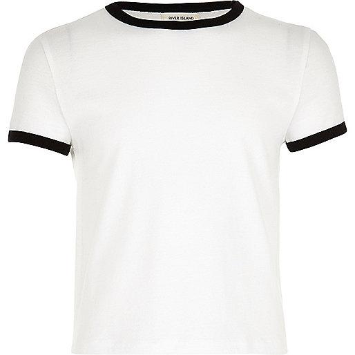 T-shirt blanc à liserés contrastants pour fille