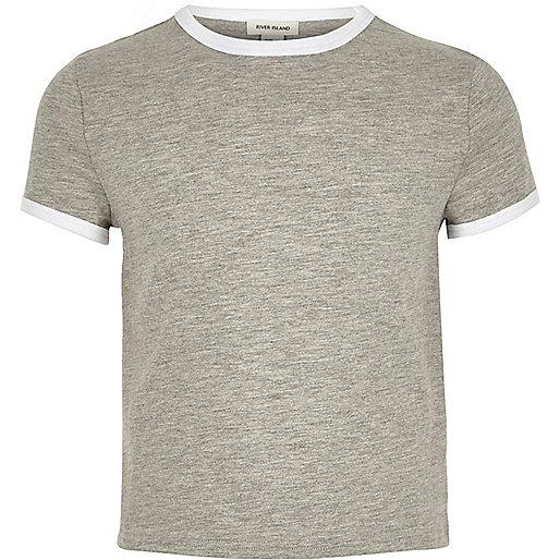 Girls grey contrast tipped t-shirt