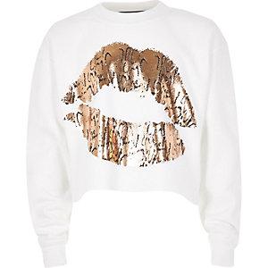 Girls white lip print sweatshirt