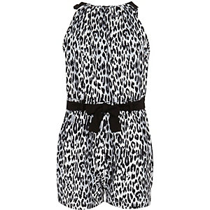Girls black and white leopard print playsuit