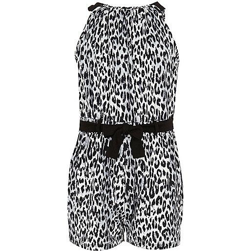Girls black and white leopard print romper