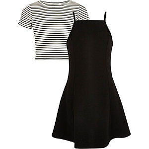 Ensemble avec robe rayée noire et blanche pour fille