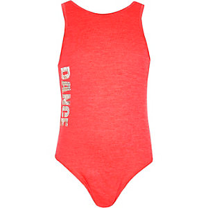 Girls pink dance bodysuit