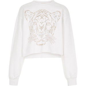 Girls white cropped tiger print sweatshirt