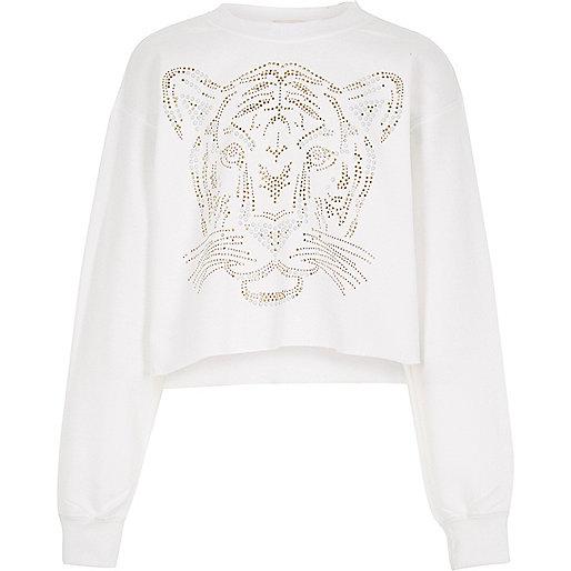 Weißer, kurzer Pullover mit Tigermuster