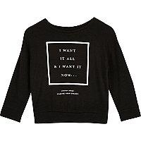 Mini girls black print sweatshirt