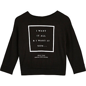 Mini girls black print sweatshirt