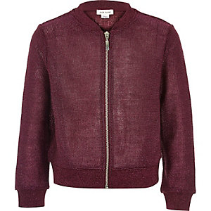 Girls dark red metallic knit bomber jacket