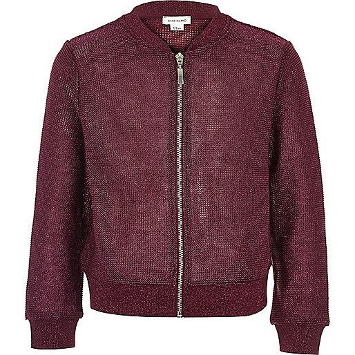 Girls dark red metallic knit bomber jacket