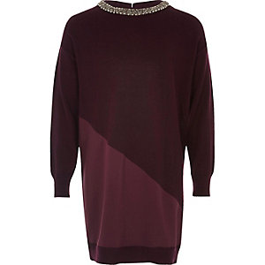 Girls dark red embellished sweater dress