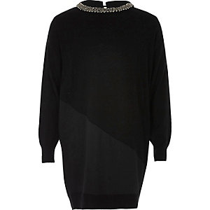 Girls black panel embellished knit dress