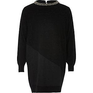 Robe en maille noire à empiècements et ornements pour fille