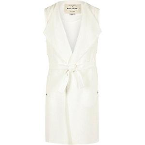 Girls white sleeveless jacket