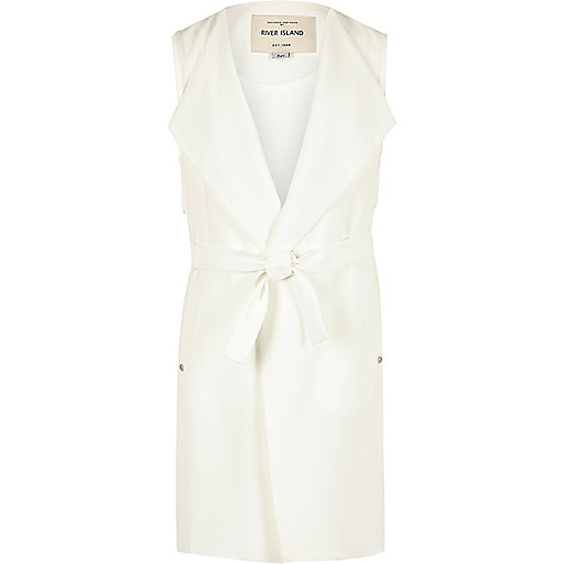 Girls white sleeveless jacket