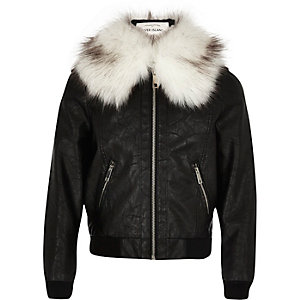 Girls black faux fur collar bomber jacket