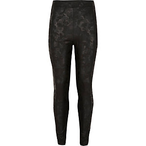 Girls black wet look camo leggings