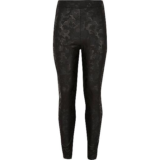 Girls black wet look camo leggings