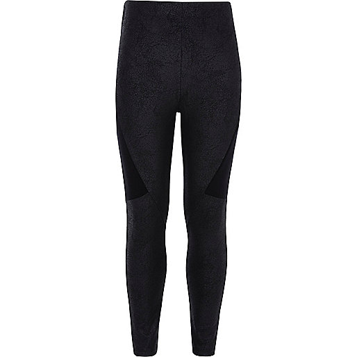 Girls black splice panel leggings