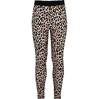 Girls brown animal print leggings