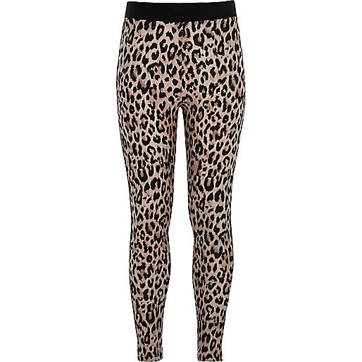 Girls brown animal print leggings