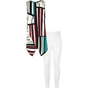 Girls white print top and leggings outfit