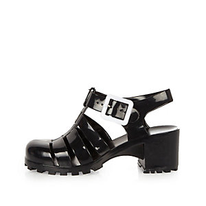 Girls black heeled jelly sandals