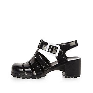 Sandales en plastique noires à talons pour fille