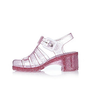 Girls pink heeled jelly sandals