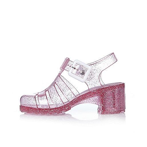Sandales en plastique roses à talons pour fille