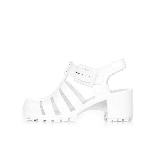 Girls white heeled jelly sandals