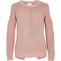 Girls pink lurex knit cold shoulder jumper