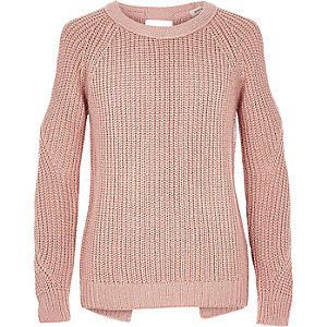 Girls pink lurex knit cold shoulder sweater