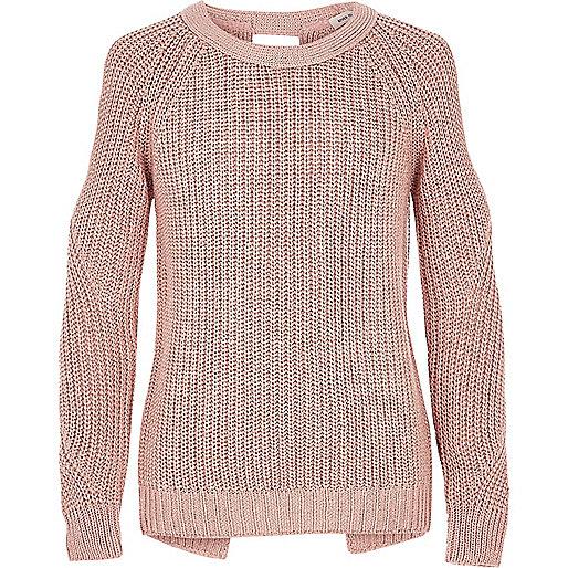 Girls pink lurex knit cold shoulder sweater