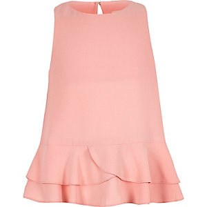 Girls pink peplum ruffle top