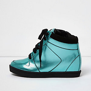 Girls metallic blue wedge hi tops