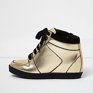 Girls gold wedge hi tops