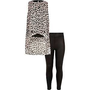 Girls leopard print top and leggings set