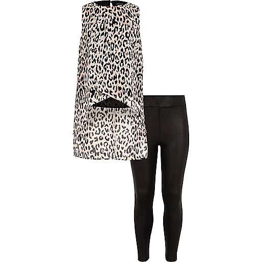 Ensemble legging et haut à imprimé léopard pour fille