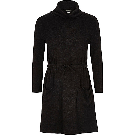 Girls grey soft cowl neck dress