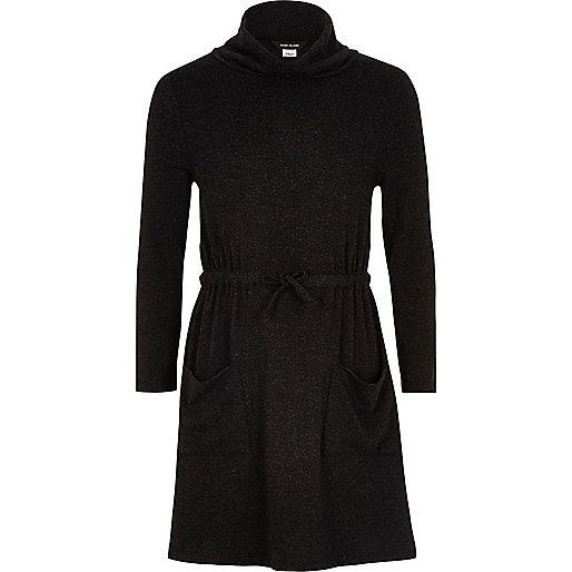 Robe pull grise à col bénitier pour fille